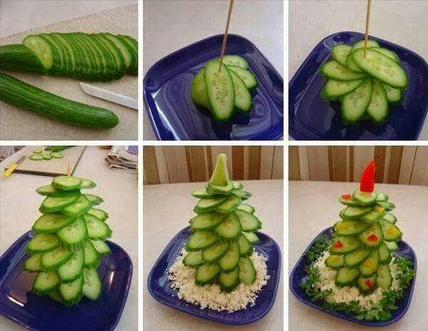Create a Christmas tree with cucumber and couscous