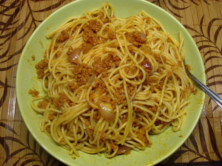 spaghetti with soy mince!