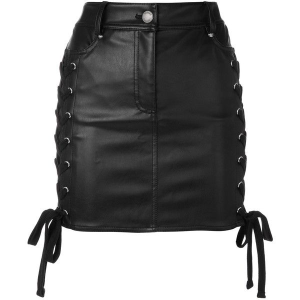 Versus Zayn X lace-up mini skirt (1.605 BRL) ❤ liked on Polyvore featuring skirts, mini skirts, bottoms, saias, black, lace up front skirt, lace up skirt, short skirts and button front mini skirt