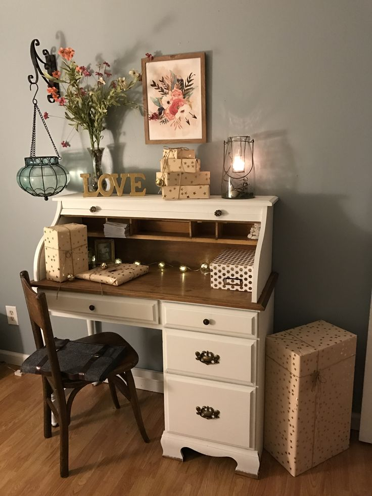 Bought an old used roll top desk and painted it with chalk paint. My girl room makeover is complete.