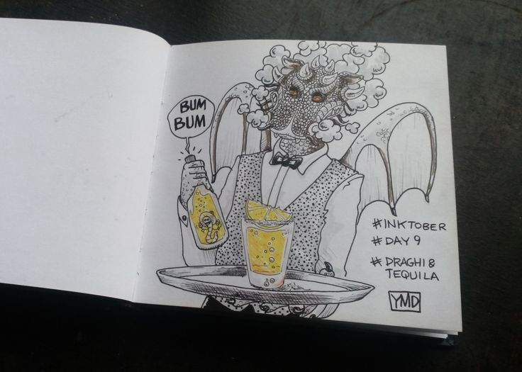 day 9 tema: draghi & tequila #inktober #inktober2015 #day9 #sketchbook #illustration #illustrazione #massoneriacreativa #ink #tequila #drago
