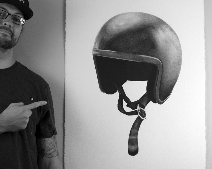 Bell Motorcycle Helmet. Drawn by Brenden McDonough with Fine Liner Pens