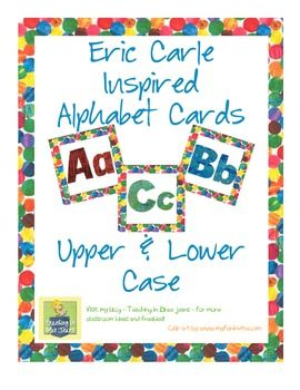 Eric Carle Inspired Alphabet Cards - Upper and Lower Case-