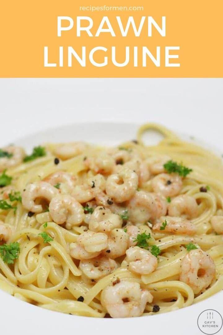Creamy Prawn Linguine A Delicious Garlic Shrimp Pasta Dish In 2020 Linguine Recipes Prawn Linguine Linguine Recipes Easy
