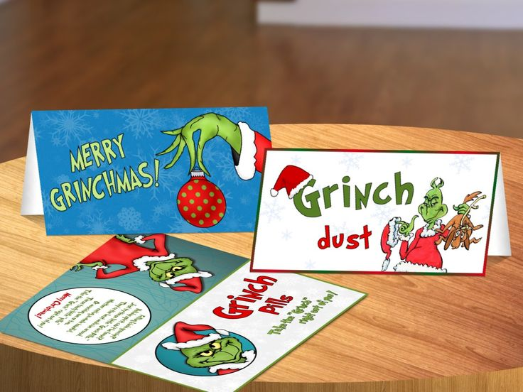 Grinch Package - Grinch Package consists of the Grinch Dust Label, Grinch Pills Label, Merry Grinchmas Label, and a Grinch Postcard. The Grinch Dust and Grinch Pills labels have a poem on the back of them. With all the labels, you get 2 labels on 1 sheet of standard size paper 8.5 x 11 inches.
