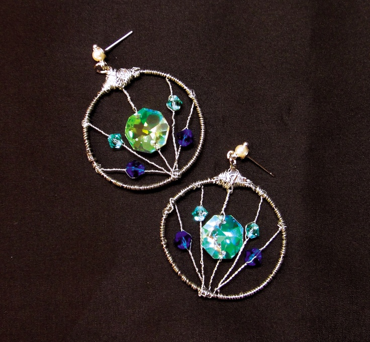 hand made earings, wire and pearls