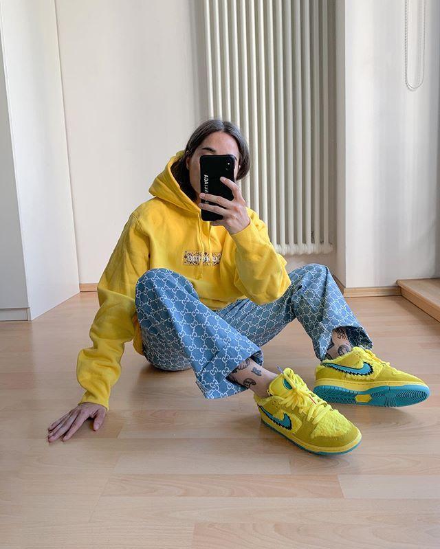 Grateful Dead x Nike SB Dunk Low Opti Yellow Bears Women Shoes ...