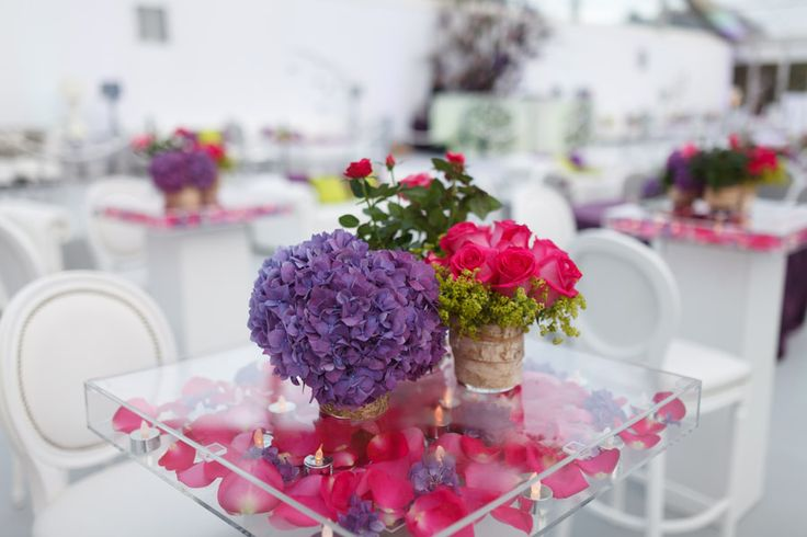 Contemporary wedding flower displays