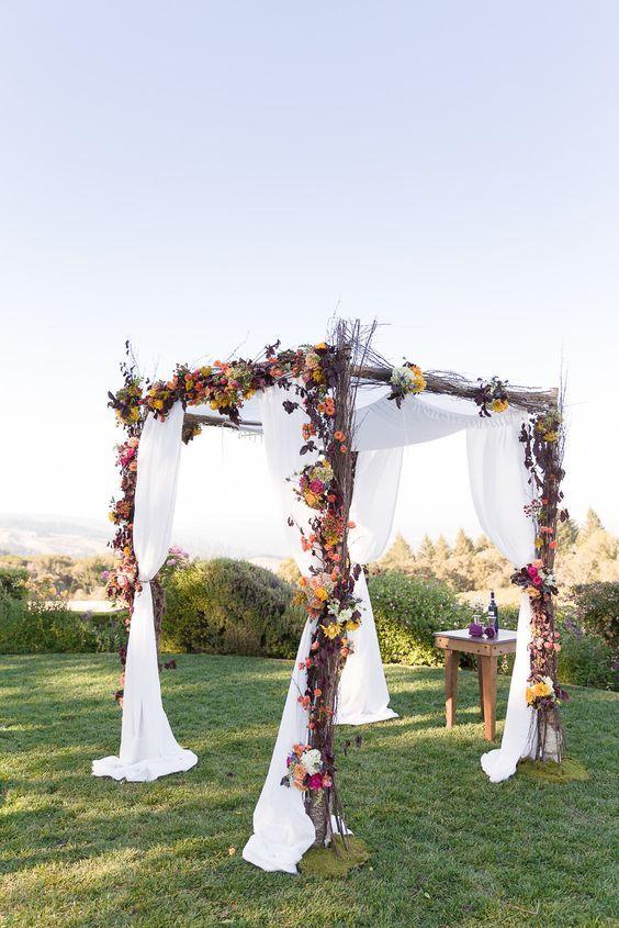 Fall Wedding Arch Decorating Ideas Archway Autumn Flowers Rustic Wed