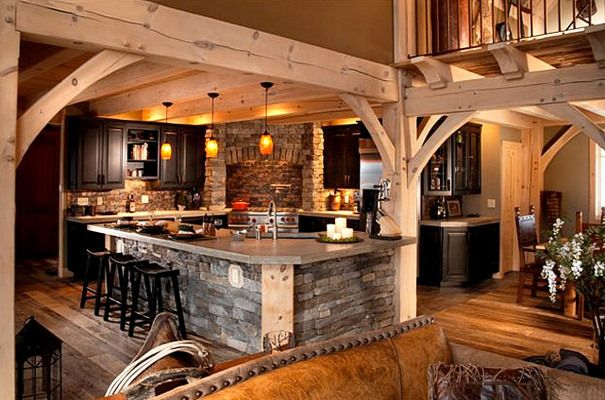 Photos of Timber Frame Homes | Green Building | Timberbuilt/ Rustic Kitchen/Dining