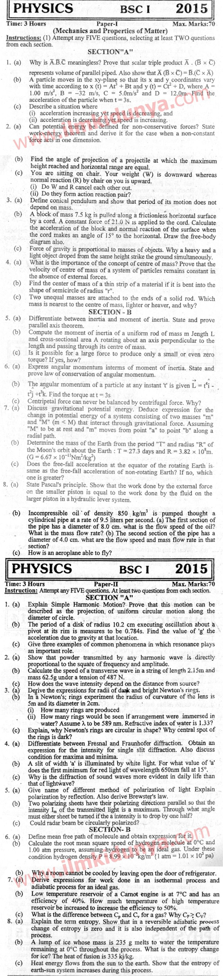 Past Papers 2015 Karachi University BSc Part 1 Physics English Version-Karachi University---2015