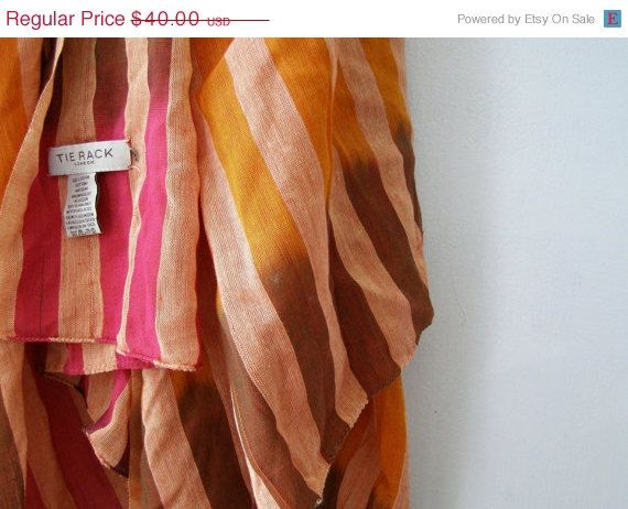 TIE RACK London Big Cotton Scarf Shawl Pink Orange by MeshuMaSH