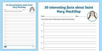 10 Facts About Saint Mary MacKillop Activity Sheet-Australia