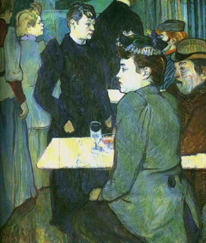 A Corner in a Dance Hall - Toulouse-Lautrec, Henri de - Art Nouveau - Oil on cardboard - Genre - TerminArtors