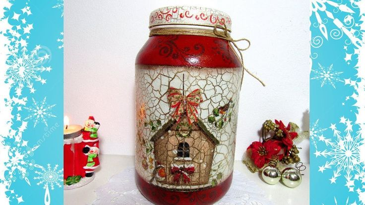 Pote de Vidro com Decoupagem para o Natal