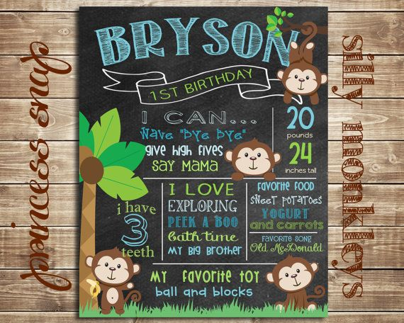First Birthday Chalkboard Poster Sign Printable - Monkey - Digital File JPG - Baby's First Birthday
