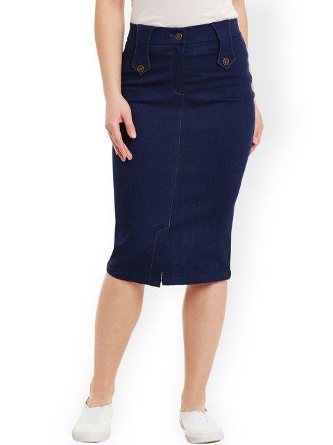 c6f6a3c2f Buy Rider Republic Blue Denim Pencil Skirt - Skirts for Women 1757195 |  Myntra