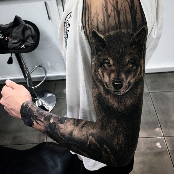 50 Realistic Wolf Tattoo Designs For Men Canine Ink Ideas Forest Tattoos Wolf Tattoo Sleeve Wolf Tattoos
