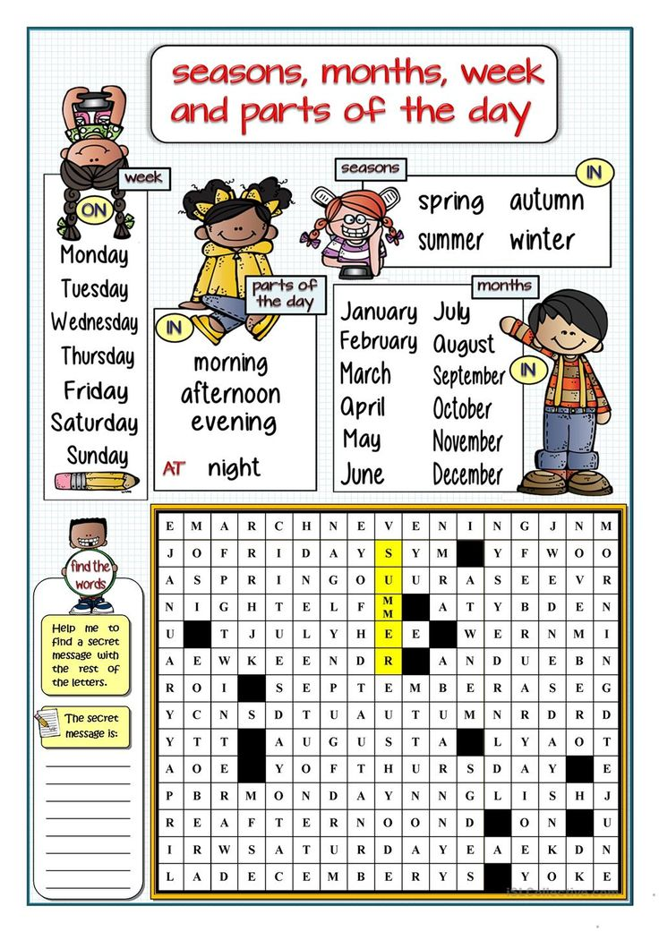 SEASONS, MONTHS, WEEK AND PARTS OF THE DAY - WORDSEARCH