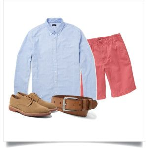 Polyvore: Light blue OCBD, terracotta red shorts, tan leather belt, tan suede derbies.
