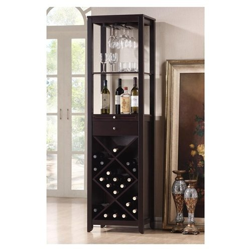 Tall wine rack with glass holders for the dining room to save room in the kitchen.