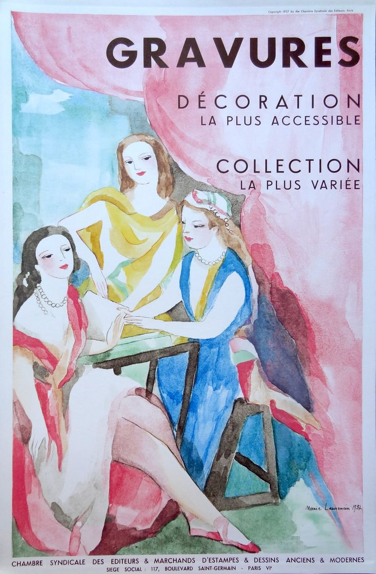 "Affiche de la Chambre Syndicale en 1937 - par Marie Laurencin (1883-1956) : ""Gravures - Décoration la plus accessible - Collection la plus variée"" - MAS Estampes Anciennes - Antique Prints since 1898"