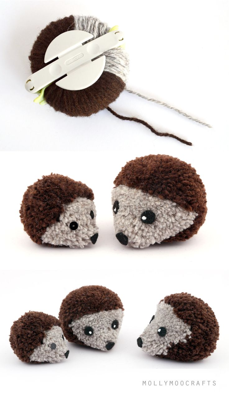#DIY Pom Pom #Hedgehogs http://www.kidsdinge.com https://www.facebook.com/pages/kidsdingecom-Origineel-speelgoed-hebbedingen-voor-hippe-kids/160122710686387?sk=wall http://instagram.com/kidsdinge #Kidsdinge