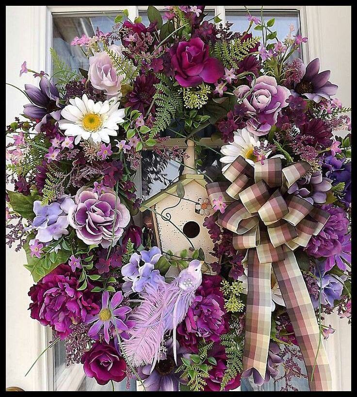 Gorgeous Purple Wreath With Birdhouse.