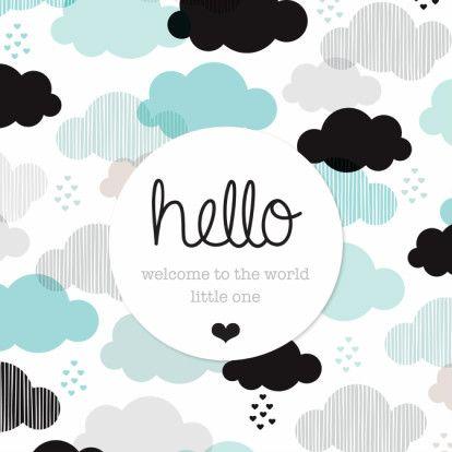 Lief modern illustratie patroon met wolkjes in blauw wit zwart en grijs. lief kaartje bij geboorte van jongen of felicitatie bij zoon.