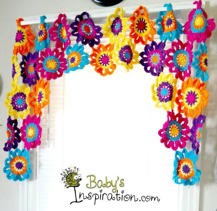 Crocheted Valance.  #babysinspiration #madmadmakers #kitchen #valance #curtains www.facebook.com/babysinspiration www.babysinspiration.com