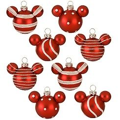 Mickey Mouse Christmas ornaments; Disney Store; $22.95.