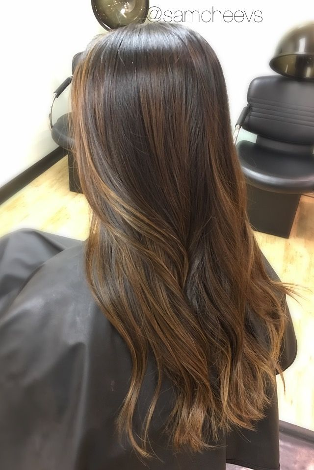 Brown highlights for black hair // ethnic Asian hair // balayage ombre for dark hair