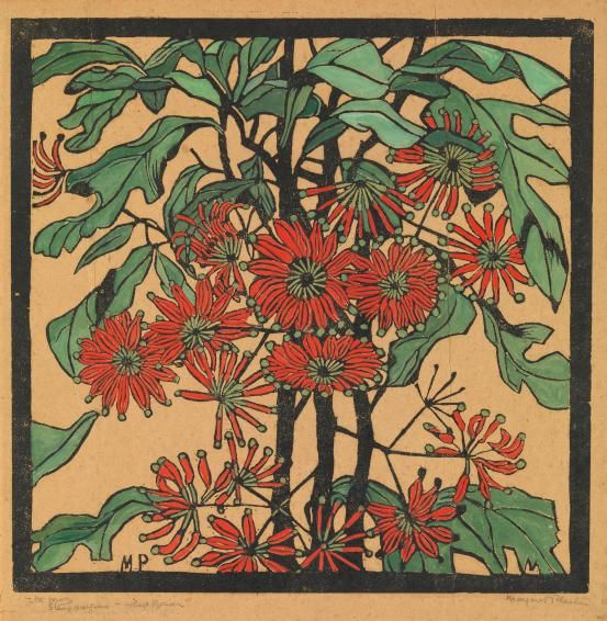 Margaret Preston was a prominent and vocal figure within the contemporary art world of 1920s Australia and contributed significantly to the development of an Australian tradition of relief printmaking. Margaret Preston, Stenocarpus - wheel flower c. 1929, hand-coloured woodcut on brown hand-made paper, National Gallery of Victoria, Melbourne, Purchased, 1979, © Margaret Preston/Licensed by VISCOPY, Sydney.
