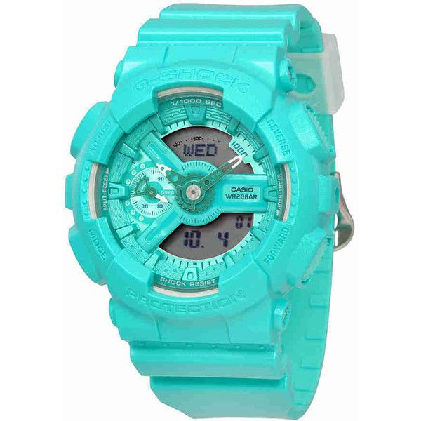 Casio G-Shock S Series Ladies Turquoise Watch (1,440 MXN) ❤ liked on Polyvore featuring jewelry, watches, water resistant watches, turquoise jewellery, blue turquoise jewelry, casio wrist watch and dial watches