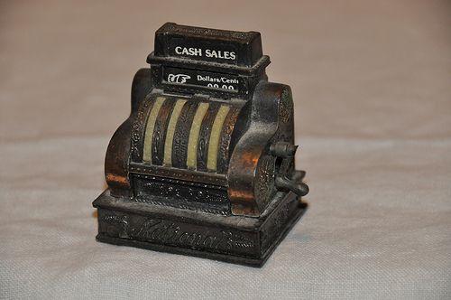 metal antique cash register pencil sharpener from flea market