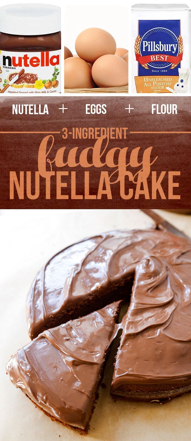 Nutella + Eggs + Flour = Fudgy Nutella Cake - Beat 1½ cups Nutella with 4 large eggs in a large bowl until well combined and slightly increased in volume, about 2 minutes. Fold in the ½ cup all-purpose flour until combined. Scrape into a greased and parchment-lined 8-inch pan and bake at 350º F until the center is just set, 35 to 40 minutes. Let cool in the pan for 10 minutes, then cool on a wire rack until room temperature. Frost with ½ cup Nutella, and serve.