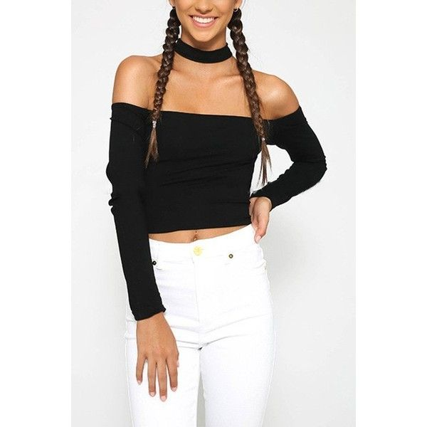 Yoins Black Choker Off Shoulder Long Sleeve Crop Top (£8.37) ❤ liked on Polyvore featuring tops, black, off the shoulder tops, off shoulder long sleeve top, off shoulder tops, off the shoulder crop top and cut-out crop tops