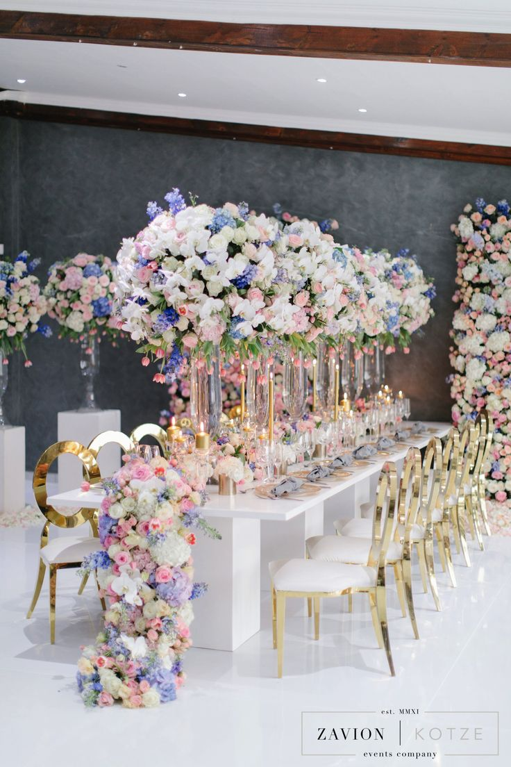Luxury pastel and gold flower wall, runner, orchid wedding