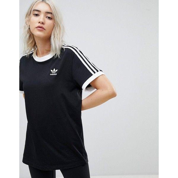 adidas Originals adicolor Three Stripe T-Shirt In Black ($32) ❤ liked on Polyvore featuring tops, t-shirts, black, retro tees, striped t shirt, retro jerseys, adidas t shirt and striped tees