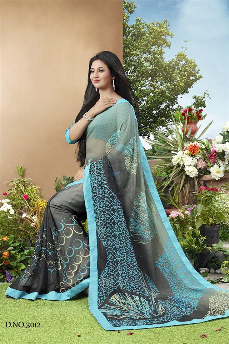 Divyanka Tripathi Grey Color Georgette Saree