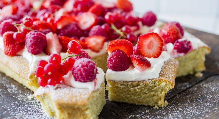 En veldig enkel og supersaftig langpanne kake med kefir, kremostglasur og friske bær er den perfekte kaken til sommerfesten. Bærene på toppen kan du variere selv, og jeg tipper den hadde blitt ganske så lekker toppet med moreller også.