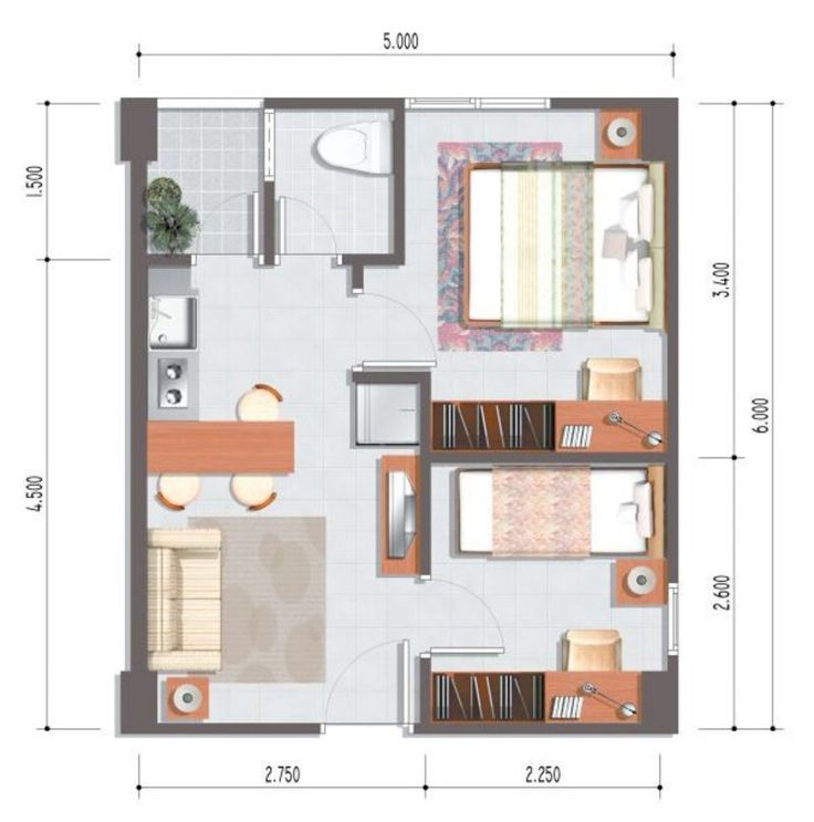 17 Best images about AN house plans – One Bedroom Apartment Designs