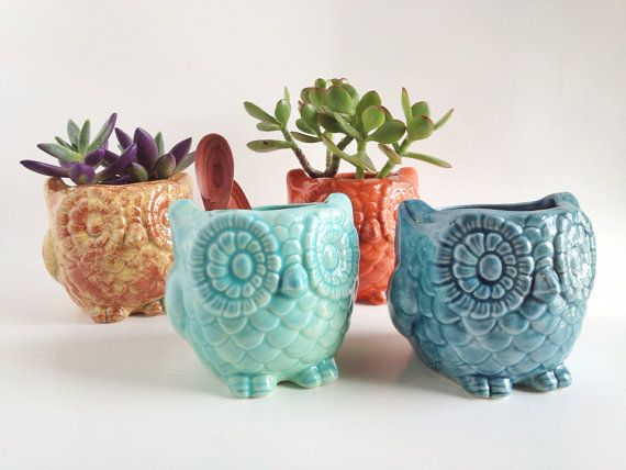 Owl Planter Owl Home Decor Ceramics And Pottery By Potterylodge