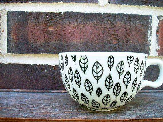 Leaves Pattern - Hand Painted Ceramic Mug