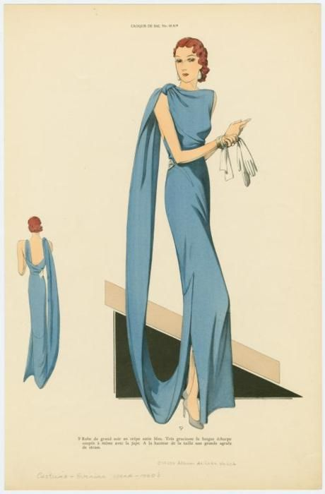 Beautiful blue gown, 1930