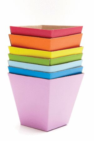 Rainbow boxes for party favours.