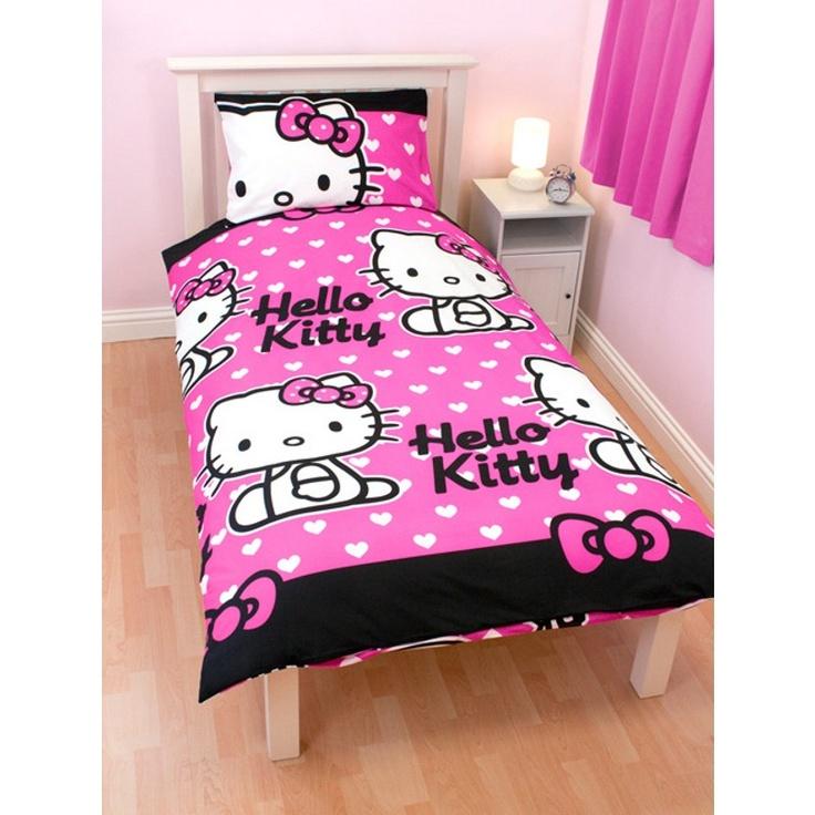 Parure de lit hello kitty coeur - Parure de lit hello kitty 1 personne ...