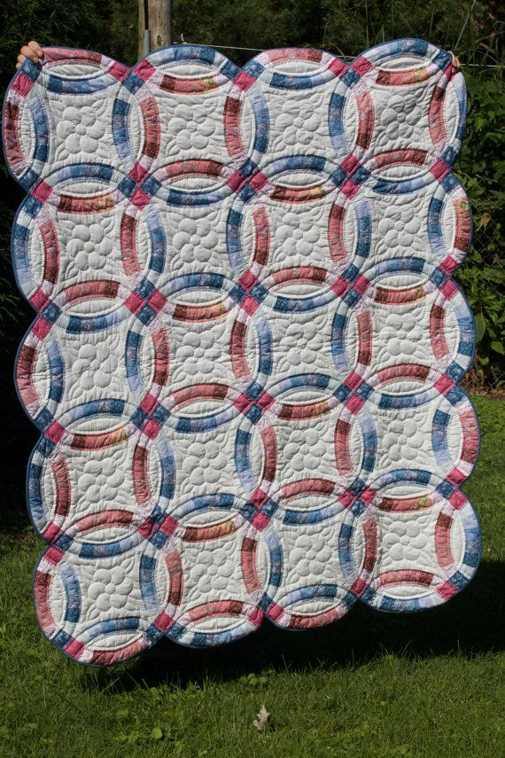 Hand Quilted Double Wedding Ring Quilt By MarthaPearceQuilt 12500