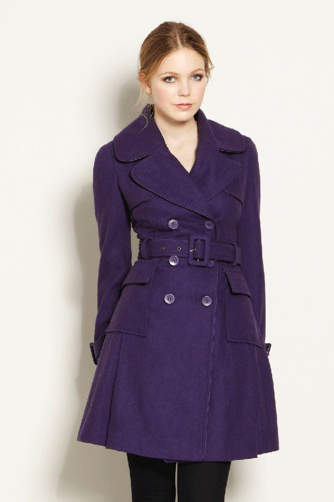 1 Madison Women's Wool Melton Mixed Media Winter Coat, Navy, Large. This season is all about fitted down coats that use multiple fabrics. This flattering coat covers all the trends. Its wool Melton fabric is on the top front and back. The secondary fabric can be found at the sleeves and bottom hem. 34 inch more.