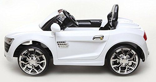 white audi r8 style 12v kids ride on car battery powered wheels with suspension remote control rc new 2015 feature with front and rear suspensio